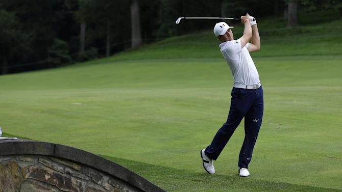 Jordan Spieth watches his second shot from the 11th fairway during the second round of the AT&T National golf tournament at Congressional Country Club, Friday, June 28, 2013, in Bethesda, Md. (AP Photo/Patrick Semansky)