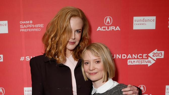 """Actresses Nicole Kidman, left, and Mia Wasikowska attend Fox Searchlight's """"The Stoker"""" premiere during Sundance Film Festival on Sunday, Jan. 20, 2012 in Park City, Utah. (Photo by Todd Williamson /Invision for Fox Searchlight/AP Images)"""
