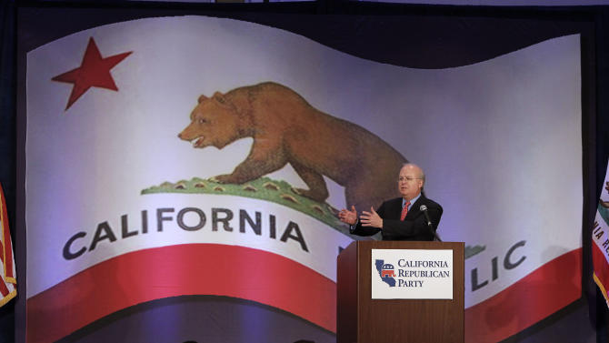 "Republican strategist Karl Rove speaks at a luncheon at the California Republican Party convention,  in Sacramento, Calif., Saturday, March 2, 2013.  Rove told California Republicans to ""get off the mat"", and to find candidates to reflect the party's diversity. (AP Photo/Rich Pedroncelli)"
