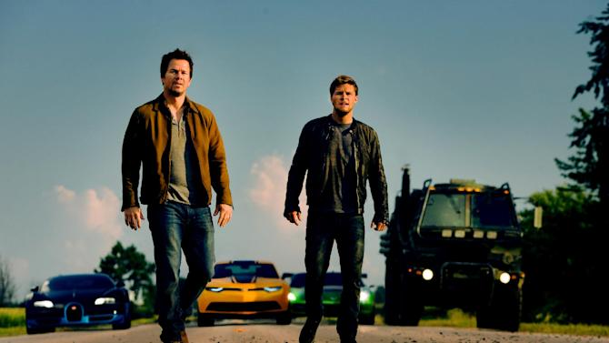 """This photo released by Paramount Pictures shows Mark Wahlberg, left, as Cade Yeager and Jack Reynor as Shane Dyson, in """"Transformers: Age of Extinction,"""" from Paramount Pictures. (AP Photo/Paramount Pictures, Andrew Cooper)"""