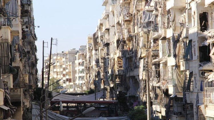 Heavily damaged buildings are shown in the northern Syrian city of Aleppo on September 8, 2013