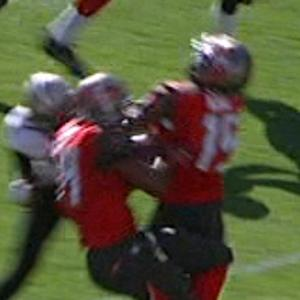 Tampa Bay Buccaneers running back Charles Sims tackled by his own teammate, wide receiver Tavarres King