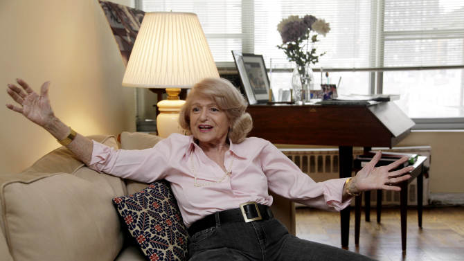 In this Wednesday, Dec. 12, 2012 photo, Edith Windsor speaks during an interview in her New York City apartment. Windsor has found some notoriety at age 83, as her challenge to the federal Defense of Marriage Act will be heard by the United States Supreme Court. (AP Photo/Richard Drew)
