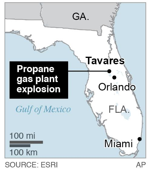 Map locates Tavares, Fla., where a propane gas plant exploded; 1c x 2 inches; 46.5 mm x 50 mm;