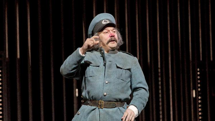 "This Dec. 23, 2013 photo released by the Metropolitan Opera shows Danny Burstein as Frosch in Act 3 of Johann Strauss, Jr.'s ""Die Fledermaus,"" in New York. (AP Photo/Metropolitan Opera, Ken Howard)"