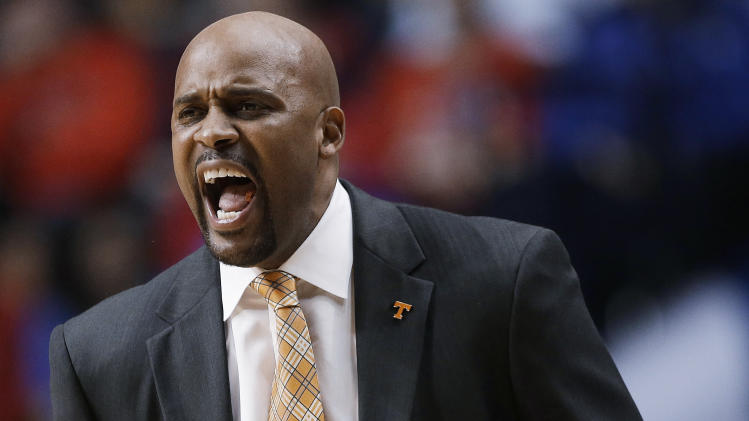 Tennessee head coach Cuonzo Martin shouts during the first half of an NCAA college basketball game against Alabama at the Southeastern Conference men's tournament, Friday, March 15, 2013, in Nashville, Tenn. (AP Photo/Dave Martin)