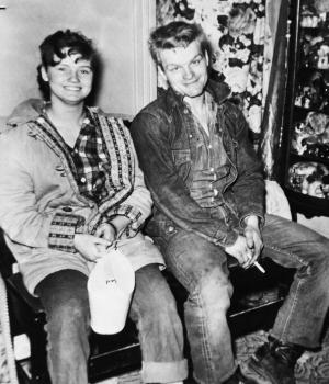 FILE - Charles Starkweather and Caril Fugate are shown in a photo released by police in 1958 when the teenagers were wanted for questioning in a killing spree that eventually claimed 11 lives in Nebraska and Wyoming. Both were convicted of murder, and Starkweather died in an electric chair. Fugate was freed from prison in 1976. Fugate later married Frederick Clair and took the name Caril Clair. On Monday, Aug. 5, 2013, Frederick Clair was at the wheel of an SUV when he crashed on Interstate 69 in Calhoun County, Mich. He was killed and Caril Clair was critically injured. (AP Photo)