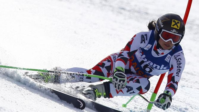 Fenninger of Austria competes in the first run of the women's Alpine Combined Super G event of the Alpine Skiing World Cup in Bansko