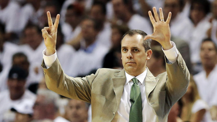Indiana Pacers head coach Frank Vogel gestures during the first half of Game 1 in their NBA basketball Eastern Conference finals playoff series against the Miami Heat, Wednesday, May 22, 2013 in Miami. (AP Photo/Lynne Sladky)