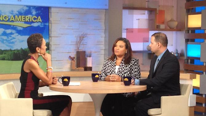 "This image released by ABC shows host Robin Roberts, left, with Juror B29 from the George Zimmerman trial, center, and attorney David Chico on ""Good Morning America,"" in New York on Thursday, July 25, 2013. Portions of Roberts' interview with the only minority juror from the Zimmerman trial, will air on ""World News Tonight with Diane Sawyer,"" and ""Nightline"" on Thursday and the full interview will air on ""Good Morning America,"" on Friday. (AP Photo/ABC, Donna Svennevik)"