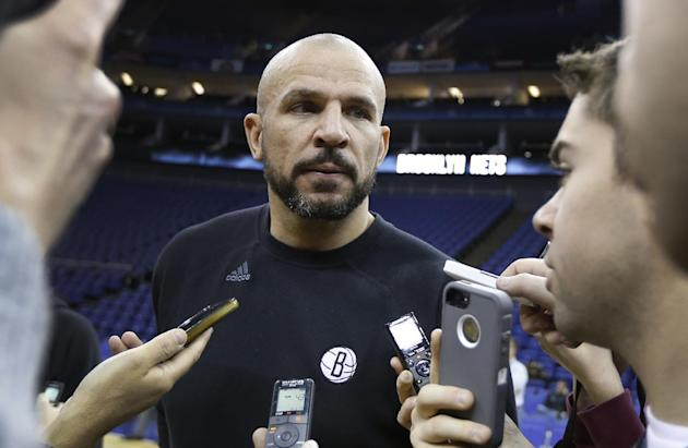 Brooklyn Nets head coach Jason Kidd speaks to media during a training session at the O2 Arena in London, Wednesday, Jan. 15, 2014.  The Atlanta Hawks will play the Brooklyn Nets in an NBA match at the
