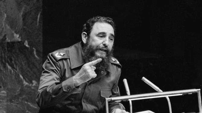This Oct. 12, 1979 file photo shows Cuban dictator Fidel Castro gesturing as he speaks at the United Nations. Five games into his tenure with the Marlins, motor mouth manager Ozzie Guillen is returning to Miami to explain himself as a backlash builds regarding favorable comments he made about Castro. NnAP Photo/File)