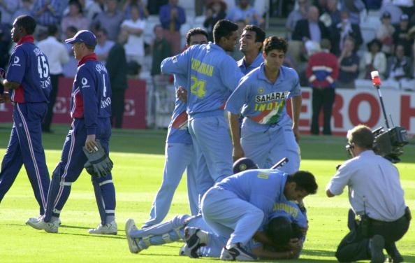 India's captain Sourav Ganguly (bottom) jubilates