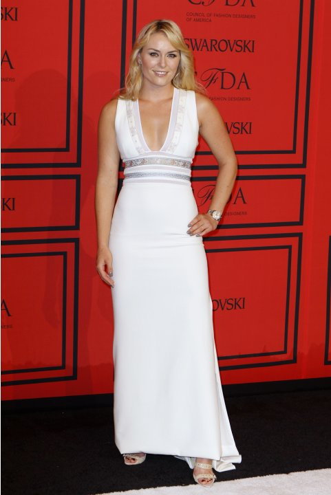Olympic skier Lindsey Vonn arrives at the 2013 Council of Fashion Designers of America (CFDA) awards in New York