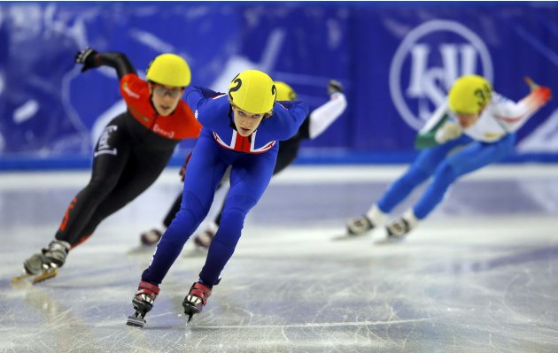 Christie of Britain competes during the women's 1500m semifinals at the ISU World Short Track Speed Skating Championships in Debrecen