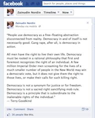 MP Zainudin Nordin's Facebook post has drawn flak from netizens.