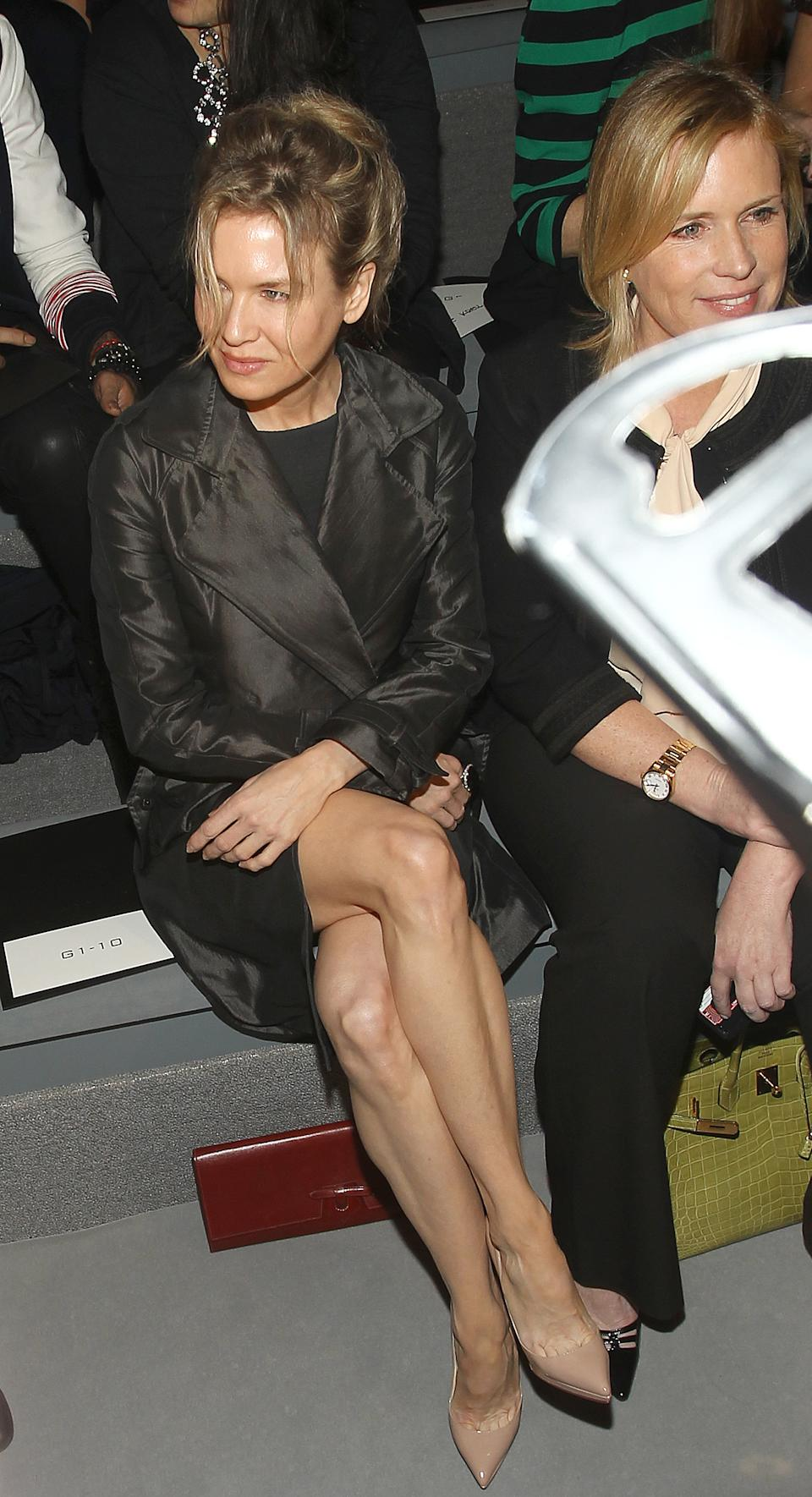 Actress Rene Zellweger attend the Vera Wang Fall 2012 show during Fashion Week in New York, Tuesday, Feb. 14, 2012. (AP Photo/ Donald Traill)