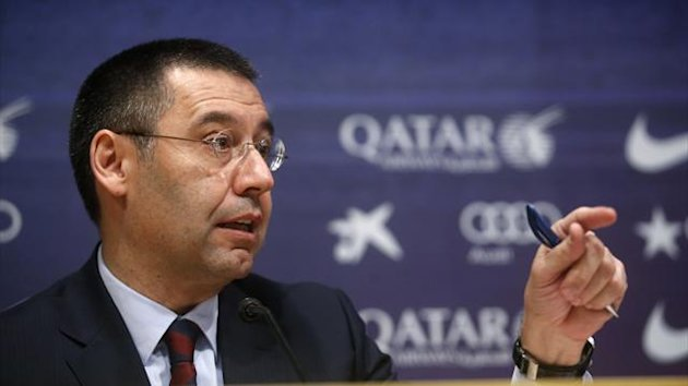 Barcelona's new president Josep Maria Bartomeu attends a news conference at Camp Nou stadium in Barcelona January 24, 2014 (Reuters)