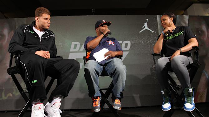 Jordan Brand athletes, Blake Griffin, left, and Maya Moore, far right, answer questions from Bum B, center, at Jordan Brand's Flight Experience on Saturday, February 16, 2013 in Houston, TX. (Photo by Omar Vega/Invision for Jordan Brand/AP Images)