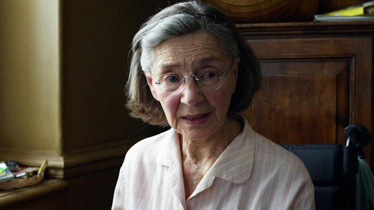 "This image released by Sony Pictures Classics shows Emmanuelle Riva in a scene from ""Amour.""  Riva was nominated  for an Academy Award for best actress on Thursday, Jan. 10, 2013, for her role in ""Amour .""  The 85th Academy Awards will air live on Sunday, Feb. 24, 2013 on ABC.(AP Photo/Sony Pictures Classics)"