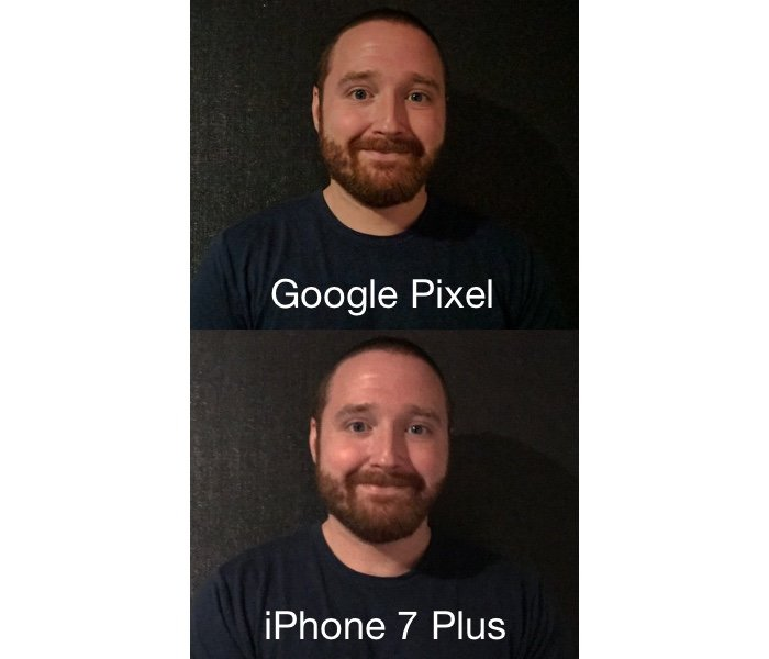 low-light photos comparing the Pixel and iPhone 7 Plus
