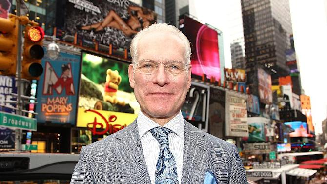 "FILE - This July 19, 2012 file photo shows host Tim Gunn poses for a photo while promoting the launch of the new season of ""Project Runway"" in New York's Times Square. In the new Disney Junior animated series ""Sofia the First,"" Gunn voices royal steward character Baileywick who helps a princess adapt to royal life after her mother marries a king.  (Photo by Donald Traill/Invision/AP, file)"