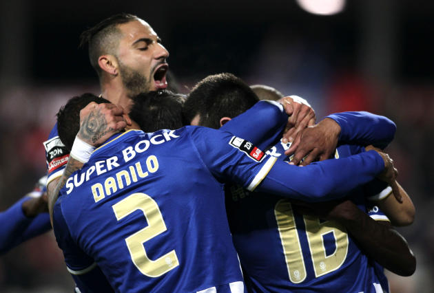 Porto's players celebrate their goal against Gil Vicente during their Portuguese Premier League soccer match in Barcelos
