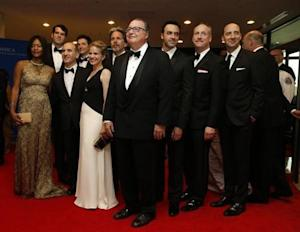 """The cast of the television series """"Veep"""" arrives on the red carpet at the annual White House Correspondents' Association Dinner in Washington"""