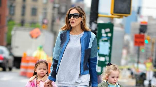 Sarah Jessica Parker is seen with daughters Tabitha and Marion in the West Village on April 30, 2013 in New York City  -- Getty Images