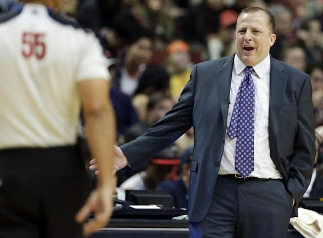 Chicago Bulls head coach Tom Thibodeau reacts to a call during the second half of an NBA basketball game against the New York Knicks in Chicago, Thursday, Oct. 31, 2013. The Bulls won 82-81