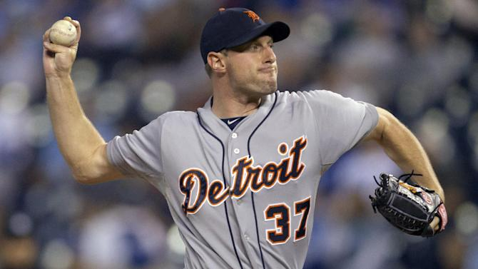 Detroit Tigers starting pitcher Max Scherzer (37) works against the Kansas City Royals during the first inning of a baseball game at Kauffman Stadium in Kansas City, Mo., Wednesday, Oct. 3, 2012. (AP Photo/Orlin Wagner)