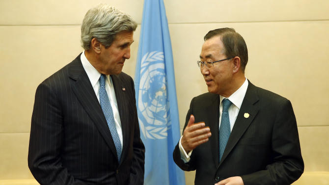 US Secretary of State John Kerry  meets with U.N. Secretary-General Ban Ki-moon in Addis Ababa, Ethiopia, Saturday May 25, 2013. Making his first official trip to sub-Saharan Africa,  Kerry on Saturday demanded that Nigeria respect human rights as it cracks down on Islamist extremists and pledged to work hard in the coming months to ease tensions between Sudan and South Sudan. (AP Photo/Jim Young, pool)