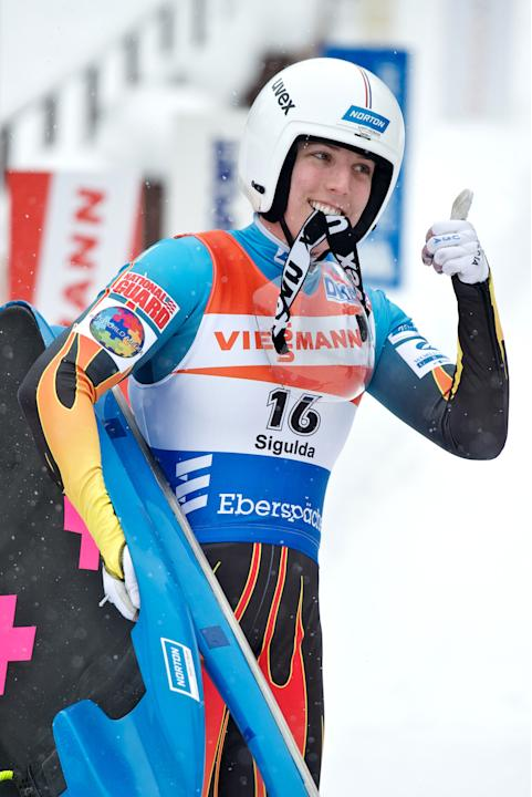 Erin Hamlin of the US gestures after placing third in the womens luge World Cup event in the Latvian town of Sigulda on February 19, 2012. AFP PHOTO /ILMARS ZNOTINS (Photo credit should read ILMARS ZN