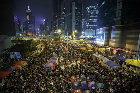 Pro-democracy protesters gather at the Occupy Central protest site in Admiralty in Hong Kong