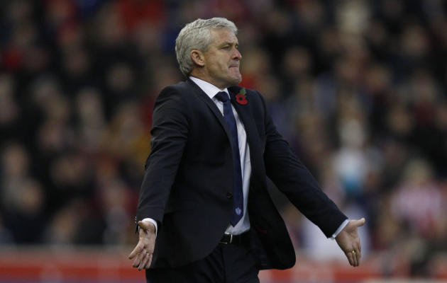 Mark Hughes saw his team miss a host of chances in the defeat at Stoke on Saturday