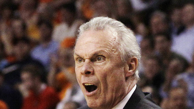 Wisconsin head coach Bo Ryan reacts in the first half of an East Regional semifinal game against Syracuse in the NCAA men's college basketball tournament, Thursday, March 22, 2012, in Boston. (AP Photo/Elise Amendola)