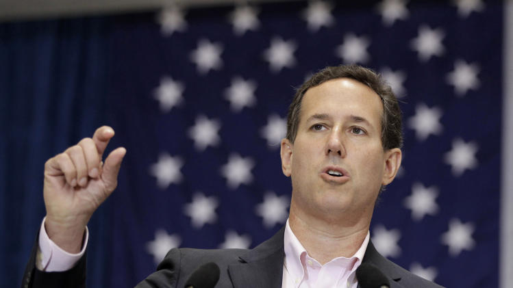 Republican presidential candidate, former Pennsylvania Sen. Rick Santorum speaks during a campaign stop at USAA, Thursday, March 22, 2012, in San Antonio, Iowa. (AP Photo/Eric Gay)
