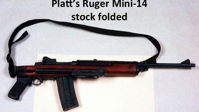 This undated evidence photo, provided by retired FBI agent Edmund Mireles, shows the Ruger Mini–14 used by one of the shooters in the deadly April 11, 1986 bank robbery shootout in Miami that left two FBI agents dead and five others injured. New models of this firearm that have folding stocks and pistol grips would be banned under proposed gun control legislation under consideration in Congress. But a similar model without a folding stock would be exempted. Both models can take detachable magazines that hold dozens of rounds of ammunition. Mireles was among the five agents injured. (AP Photo/FBI)