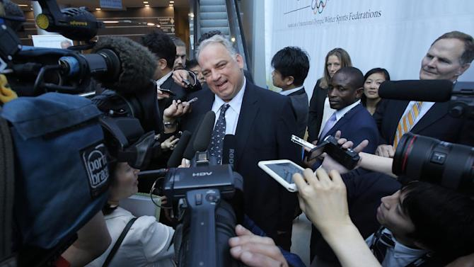 President of International wrestling federation Nenad Lalovic speaks to the Media after the IOC presentation of wrestling as a candidate sports for the 2020 Olympics at the SportAccord International Convention in St.Petersburg, Russia, Wednesday, May 29, 2013. (AP Photo/Dmitry Lovetsky)