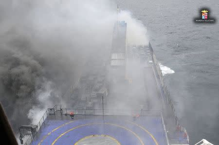 The car ferry Norman Atlantic burns in waters off Greece