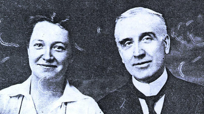 "This undated photo provided by The Preservation Society of Newport County shows Grace Rhodes Birch, left, a cook at The Elms mansion in Newport, R.I.,  with her husband Ernest Birch, the mansion's butler. The couple married in 1918. Newly discovered photographs, documents and family histories have inspired the creation of a tour about servants at The Elms, echoing themes of the British drama program, ""Downton Abbey.""  (AP Photo/The Preservation Society of Newport County)"