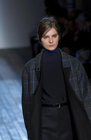 A model walks the runway at the Victoria Beckham Fall 2013 fashion show during Fashion Week, Sunday, Feb. 10, 2013, in New York. (AP Photo/Craig Ruttle)