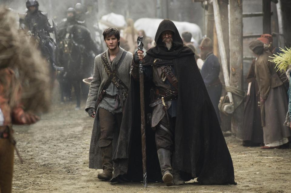 "This publicity photo released by Warner Bros. Pictures shows, Ben Barnes, left, as Tom Ward and Jeff Bridges as Master Gregory in Warner Bros. Pictures' and Legendary Pictures' fantasy action adventure ""Seventh Son,"" a Warner Bros. Pictures release. (AP Photo/Warner Bros. Pictures, Kimberley French)"