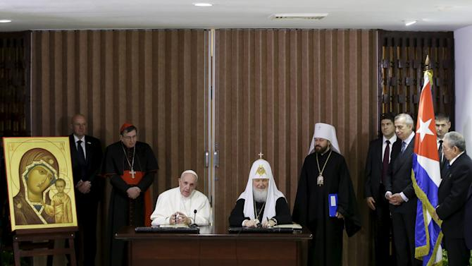 Pope Francis and Russian Orthodox Patriarch Kirill speak after signing a joint declaration on religious unity in Havana