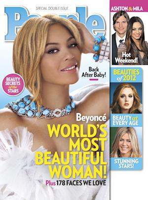 """In this cover image released by People, singer Beyonce graces the cover of People magazine's special issue naming her the World's Most Beautiful Woman for 2012. The 30-year-old singer tops the magazine's annual list of the """"World's Most Beautiful"""" in a special double issue. The announcement was made Wednesday, April 25, 2012. (AP Photo/People)"""