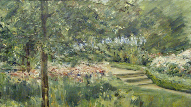 "This image provided by the Israel Museum, shows the reproduction of the ""Garden in Wannsee"" painting by the German-Jewish artist Max Liebermann which was confiscated by the Nazis during the World War II, in Jerusalem, Wednesday, May 29, 2013. Israel Museum spokeswoman Dena Scher said Wednesday the museum repurchased the ""Garden in Wannsee"" painting by the German-Jewish artist Max Liebermann from the owner's heir at an undisclosed price. (AP Photo/Israel Museum)"