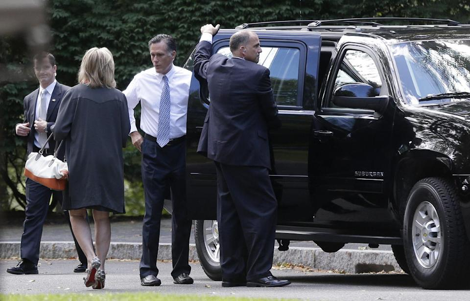 Republican presidential candidate Mitt Romney talks with his wife Ann as they leave The Church of Jesus Christ of Latter-day Saints in Bedford, Mass., Sunday, Sept. 9, 2012. (AP Photo/Charles Dharapak)