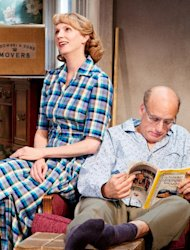 "In this theater image released by O+M Co., Christina Kirk, left, and Frank Wood are shown in a scene from ""Clybourne Park,"" at the Walter Kerr Theatre, in New York. (AP Photo/The O+M Co., Nathan Johnson Photography)"