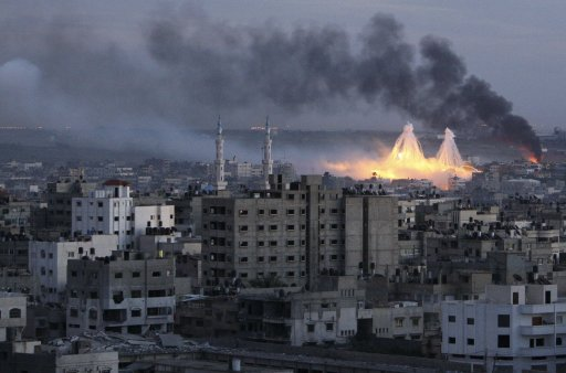 File picture of smoke rising during Israel's offensive in Gaza