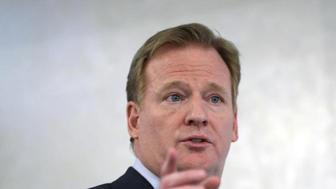 NFL Commissioner Roger Goodell speaks during an NFL football news conference in New York, Monday, March 11, 2013. The NFL is partnering with private companies as well as the U.S. Military to further research on head injuries. (AP Photo/Seth Wenig)